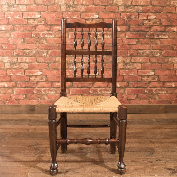 Set of 4 Victorian Spindle Back Chairs, Oak c.1900 - London Fine Antiques - 4