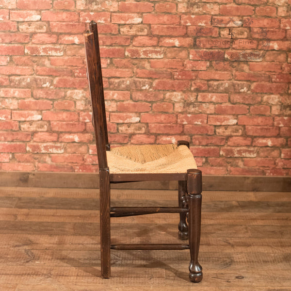 Set of 4 Victorian Spindle Back Chairs, Oak c.1900 - London Fine Antiques - 5