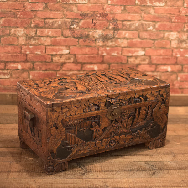 Mid-Century Carved Camphor Wood Trunk - London Fine Antiques