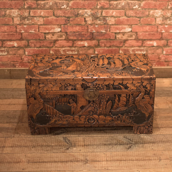 Mid-Century Carved Camphor Wood Trunk - London Fine Antiques - 2
