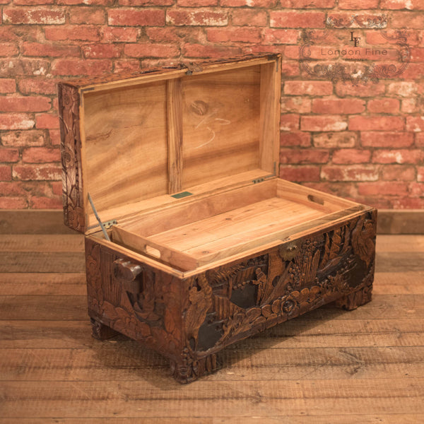 Mid-Century Carved Camphor Wood Trunk - London Fine Antiques - 8