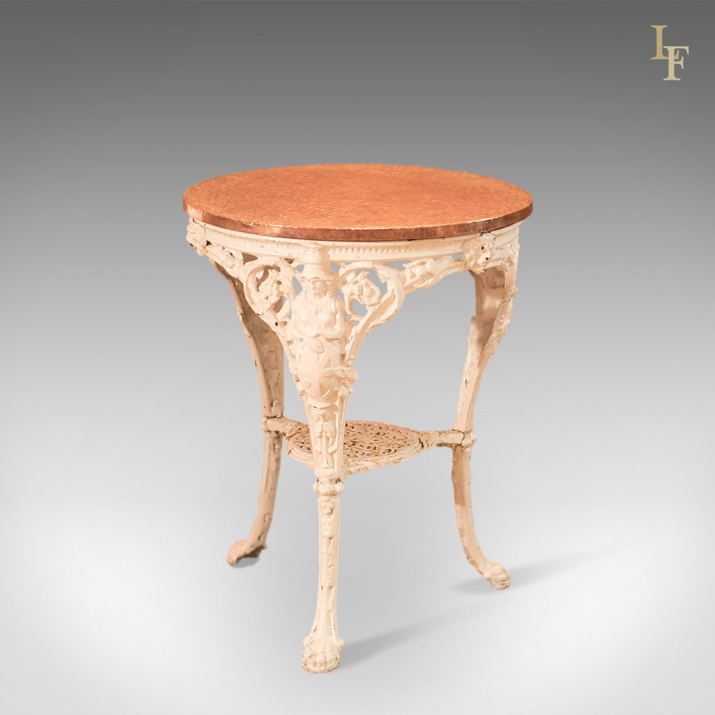 Victorian Cast Iron & Copper Tavern Garden Table