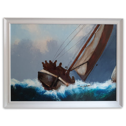 Framed Dramatic Seascape, Oil Painting, Marine, Ship, Storm, Art, Original - London Fine Antiques
