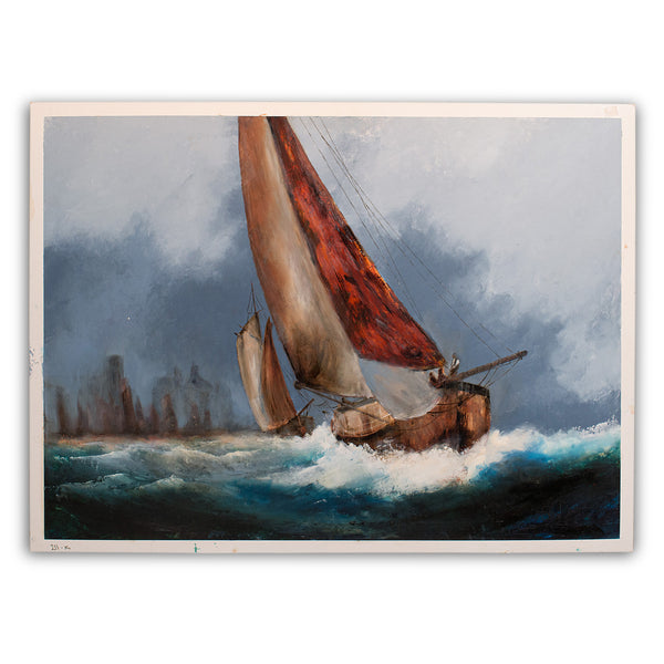 Large Sailing Seascape, Oil Painting, Marine, Maritime, Ships, Art, Original - London Fine Antiques