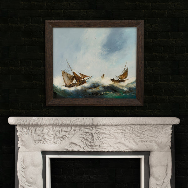 "Large, Dramatic Seascape, Oil Painting, Marine, Ships, Storm, 29"" x 25"" - London Fine Antiques"