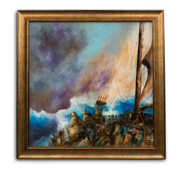 "Square, Maritime, Oil Painting, Marine, Ship, Onboard, Art, Original, 25""x25"" - London Fine Antiques"