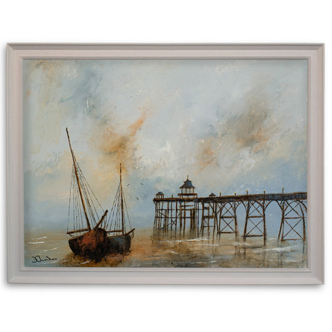 "Seascape, Oil Painting, Ships, Pier, Sunrise, Art, Original, 20"" x 15"" - London Fine Antiques"
