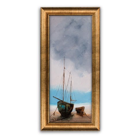 "Slimline Beach Scene, Oil Painting, Marine, Ships, Original, Art, 9"" x 22.75"" - London Fine Antiques"