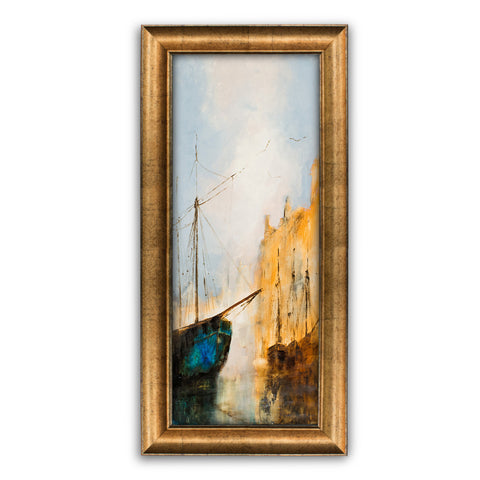 "Slimline Maritime Portrait, Oil Painting, Ship, River, Art Original, 9"" x 22.75"" - London Fine Antiques"