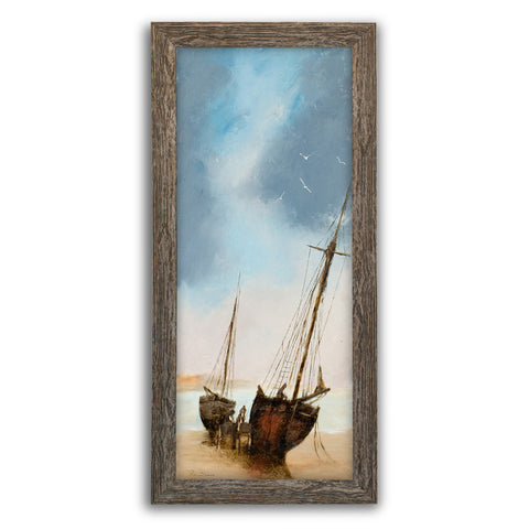 "Slimline Maritime Beach Scene, Oil Painting, Ships, Art, Original, 9"" x 22.75"" - London Fine Antiques"
