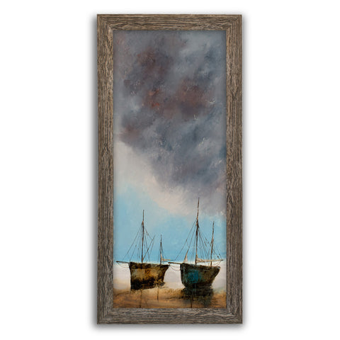 "Slimline Portrait, Oil Painting, Marine, Beach, Sky, Art, Original, 9"" x 22.75"" - London Fine Antiques"