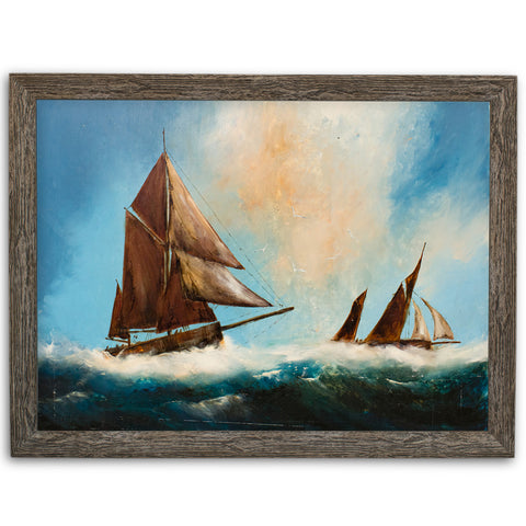Maritime Seascape, Oil Painting, Marine, Sailing Ships, Ocean, Art, Original - London Fine Antiques