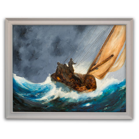 "Maritime Seascape, Oil Painting, Sailing Ship, Storm, Art, Original, 26"" x 20.5"" - London Fine Antiques"