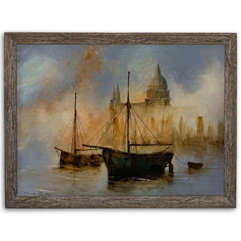 Thames Landscape, Oil Painting, Maritime, London, St Paul's, Art, Original - London Fine Antiques