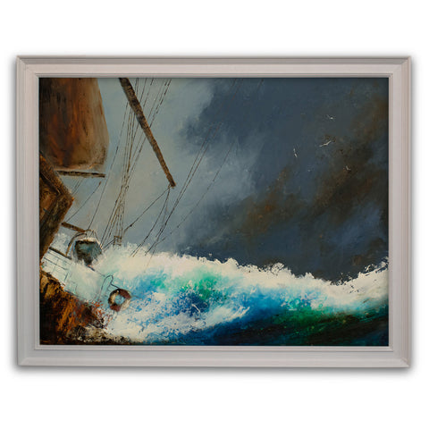"Dramatic Seascape, Oil Painting, Marine, Ship, Art, Original, 25.75"" x 20"" - London Fine Antiques"