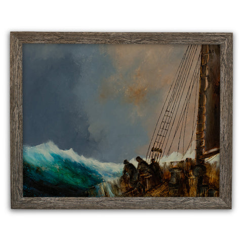 Maritime Seascape, Oil Painting, Marine, Ship, Storm, Dramatic, Art, Original - London Fine Antiques