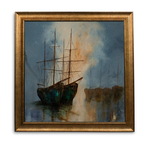 "Square Maritime Portrait, Oil Painting, Night, Ships, Art, Original, 25"" x 25"" - London Fine Antiques"