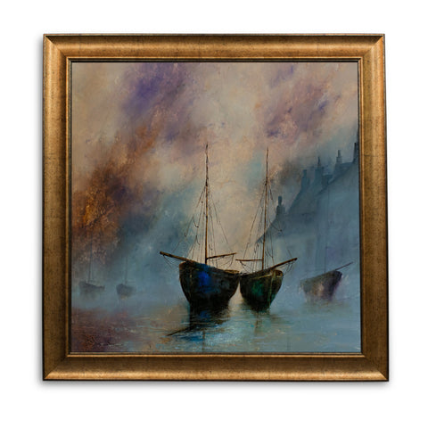 "Square Landscape, Oil Painting, Marine, Ships, Art, Original, 19.75"" x 19.75"" - London Fine Antiques"
