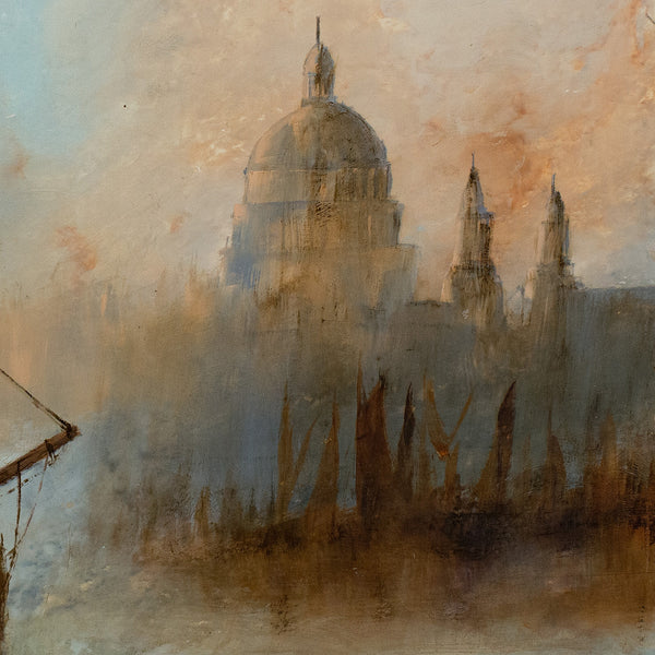 Maritime Landscape, Oil Painting, Marine, Thames, London, Art, Original - London Fine Antiques