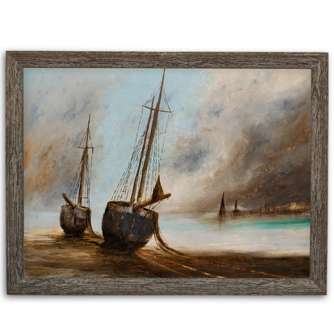 Maritime Landscape, Oil Painting, Marine, Seascape, Ships, Art, Original - London Fine Antiques