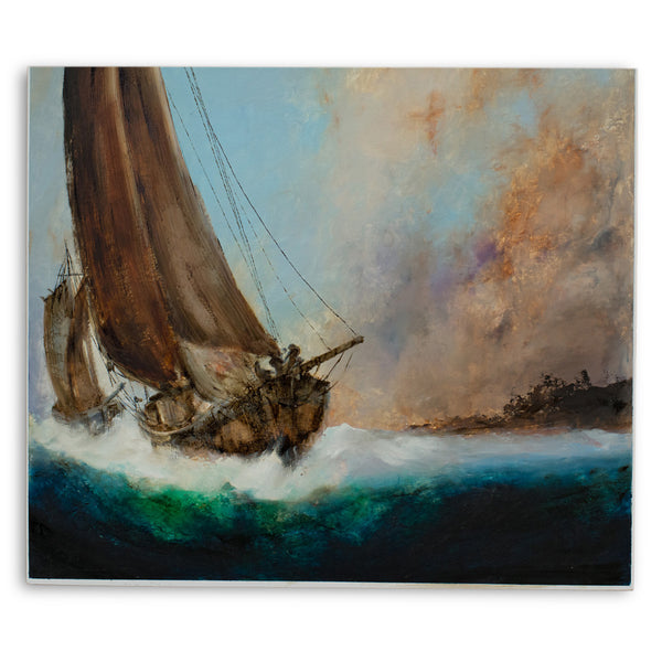 Classic Marine, Oil Painting, Maritime, Sailing, Ships, Sunset, Art, Original - London Fine Antiques