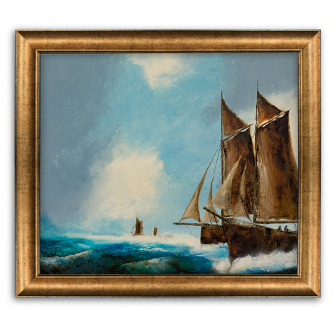 "Classic Maritime, Oil Painting, Marine, Original, Ships, Ocean, Art, 25"" x 23"" - London Fine Antiques"