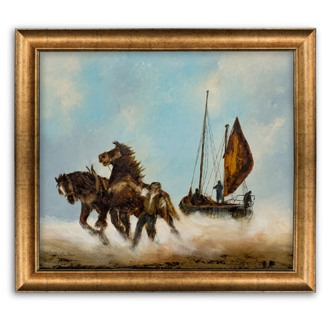 "Dramatic Equine Scene, Oil Painting, Horses, Marine, Original, Art, 25"" x 20.5"" - London Fine Antiques"