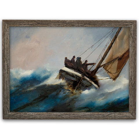 "Dramatic Marine Seascape, Oil Painting, Maritime, Original, Art, 15.25"" x 10.25"" - London Fine Antiques"