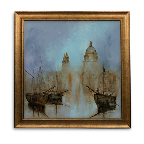Square Landscape, Oil Painting, Thames, St Paul's, London, Original, Art - London Fine Antiques