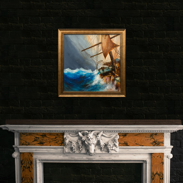 "Square, Dramatic Nautical, Oil Painting, Marine, Ships, Original, Art, 25"" x 25"" - London Fine Antiques"