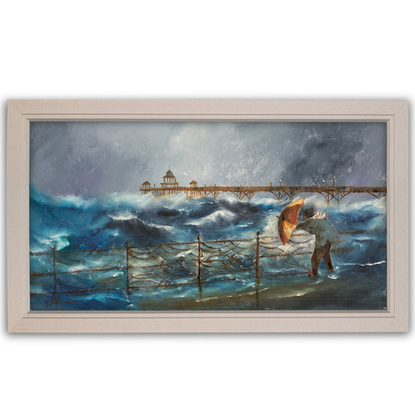 Panoramic Dramatic Landscape, Oil Painting, Art, Original, Seascape, Storm - London Fine Antiques