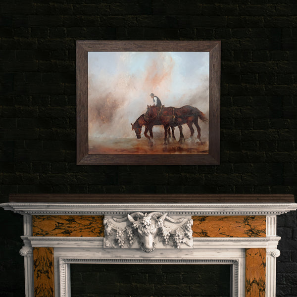 "Framed Equine, Oil Painting, Horses, Art, Original, Nature, 30.5"" x 26.5"" - London Fine Antiques"