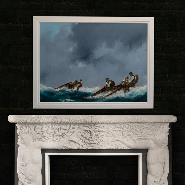 Framed Maritime Seascape, Oil Painting, Marine, Art, Original, Fishermen - London Fine Antiques