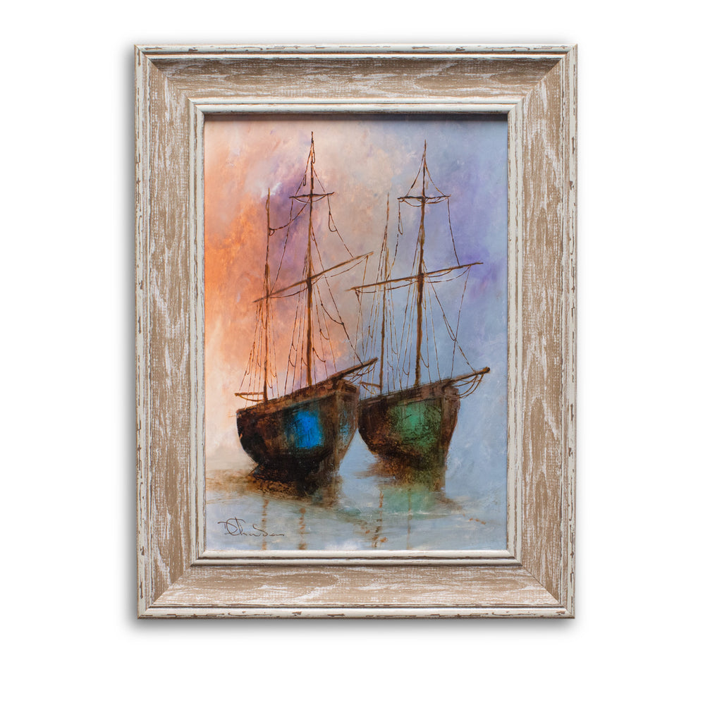 "Framed Maritime Scene, Oil Painting, Marine, Ships, Art, Original, 11.5""x 15"" - London Fine Antiques"