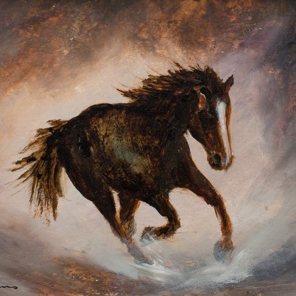 "Framed Wildlife, Oil Painting, Equine, Horse, Art, Original, 14.75"" x 11.5"" - London Fine Antiques"