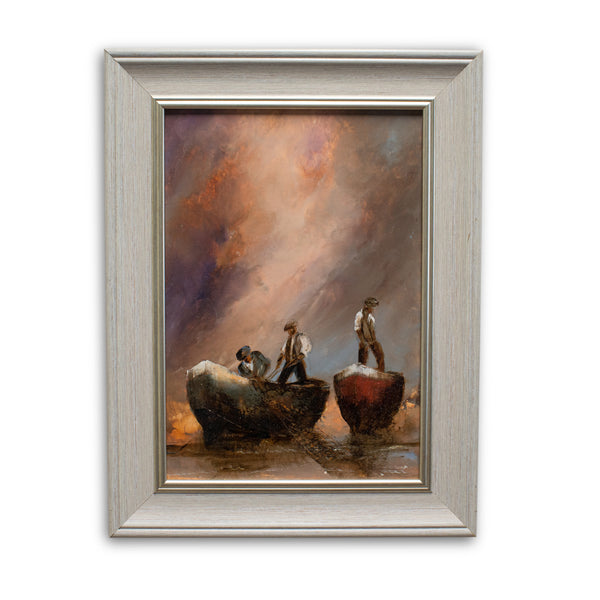 Framed Maritime Scene, Oil Painting, Maritime, Fishermen, Art, Original - London Fine Antiques