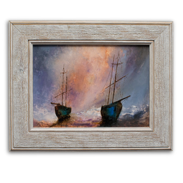 "Framed Maritime, Oil Painting, Marine, Ships, Dawn, Art, Original, 15.5"" x 12.5"" - London Fine Antiques"
