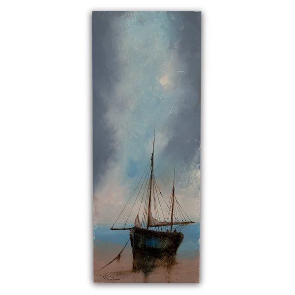 "Slimline Seascape, Oil Painting, Marine, Beach, Ship, Art, Original, 9"" x 22.75"" - London Fine Antiques"