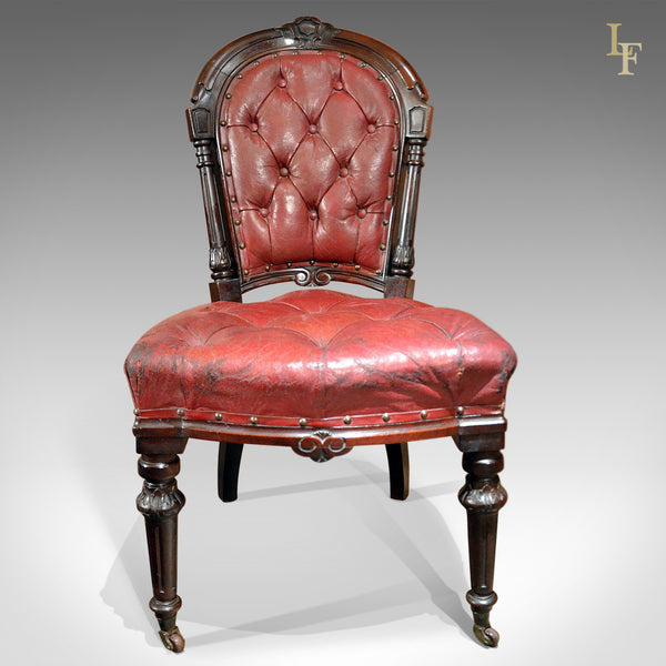 Regency Red Leather Antique Library Chair, c.1830 - London Fine Antiques