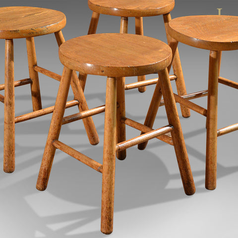 Antique Set of 4 Stools, Elm & Ash, French Country Kitchen - London Fine Antiques
