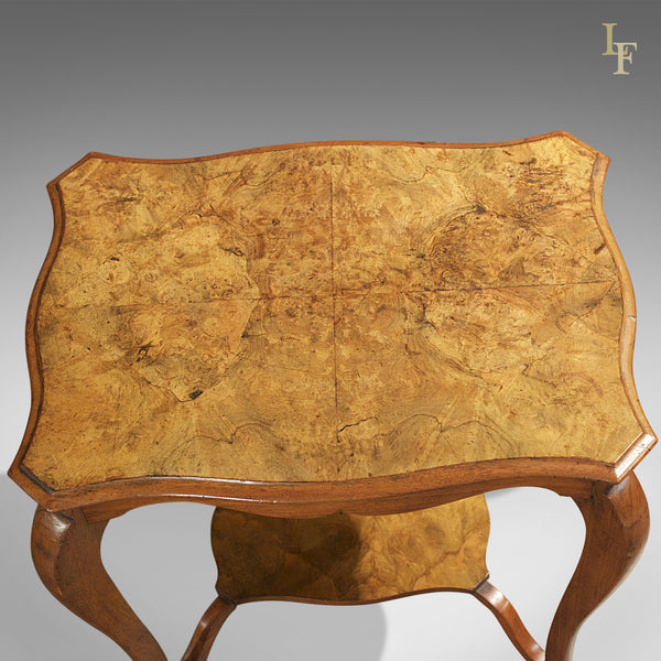 Antique Side Table, Victorian Burr Walnut - London Fine Antiques