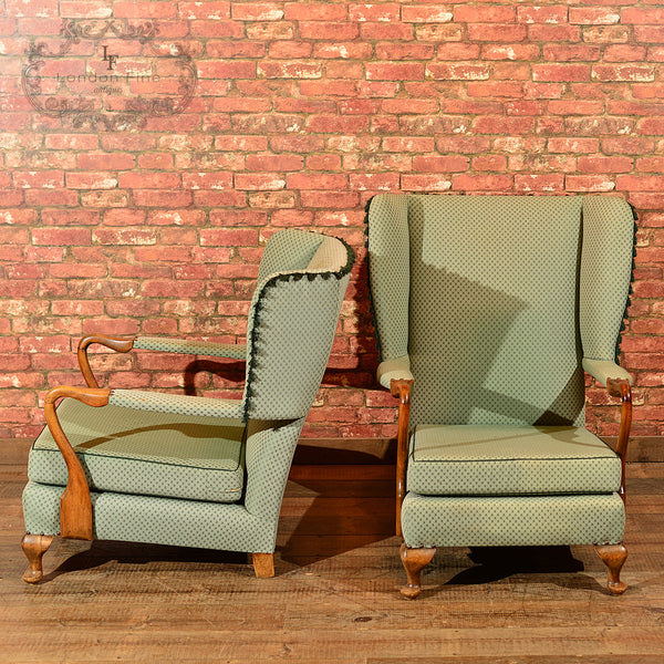 Chairs & Seating-Pair of Mid Century Wing Back Chairs - 2