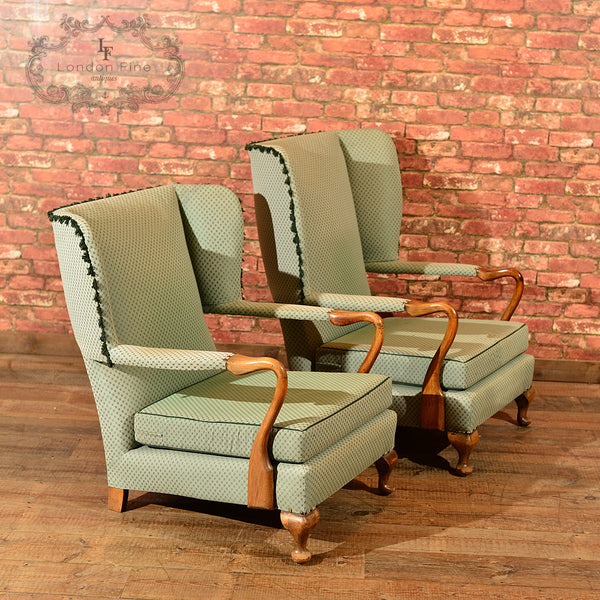 Pair of Mid Century Wing Back Chairs - London Fine Antiques