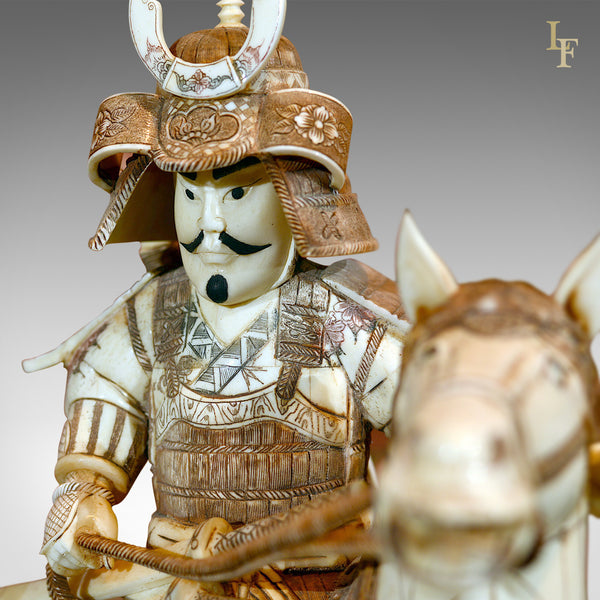 Japanese Bone Carved Antique Okimono Samurai Warrior - London Fine Antiques
