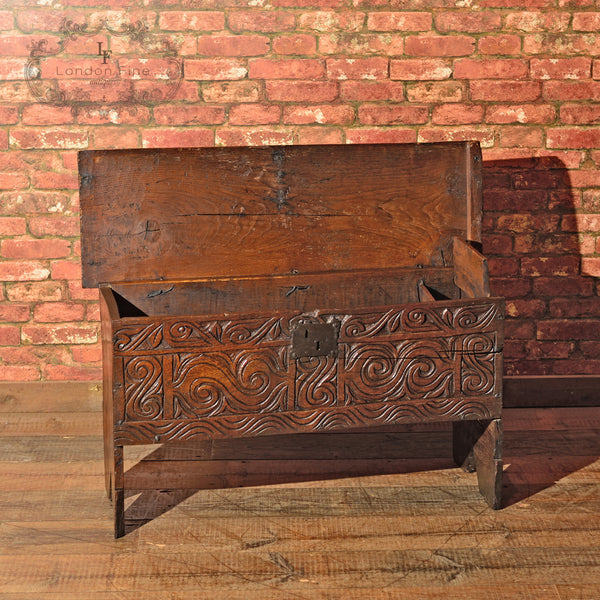 Cromwellian Six Plank Chest, c.1650 - London Fine Antiques - 9