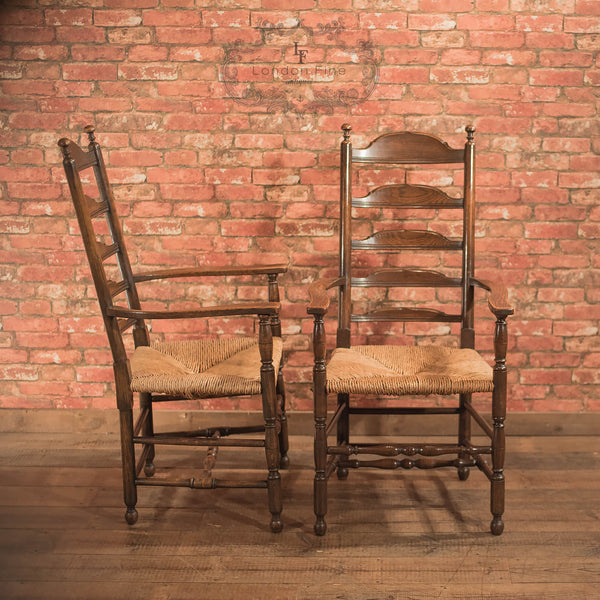 Chairs & Seating-Pair of Antique Elbow Chairs, Dining Ladderbacks c.1900 - 2