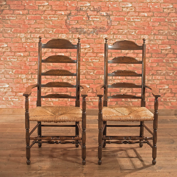 Pair of Antique Elbow Chairs, Dining Ladderbacks c.1900 - London Fine Antiques