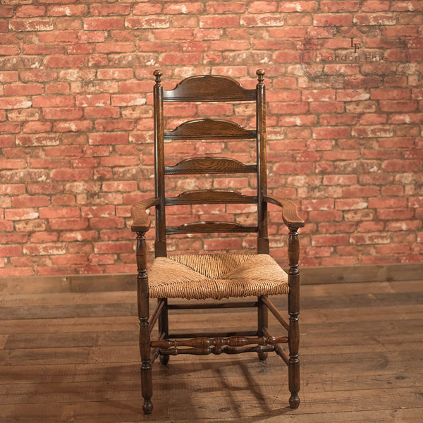 Chairs & Seating-Pair of Antique Elbow Chairs, Dining Ladderbacks c.1900 - 4