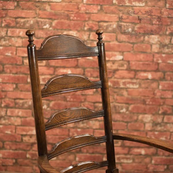 Chairs & Seating-Pair of Antique Elbow Chairs, Dining Ladderbacks c.1900 - 6