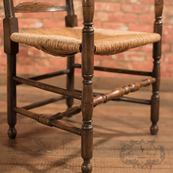 Chairs & Seating-Pair of Antique Elbow Chairs, Dining Ladderbacks c.1900 - 9